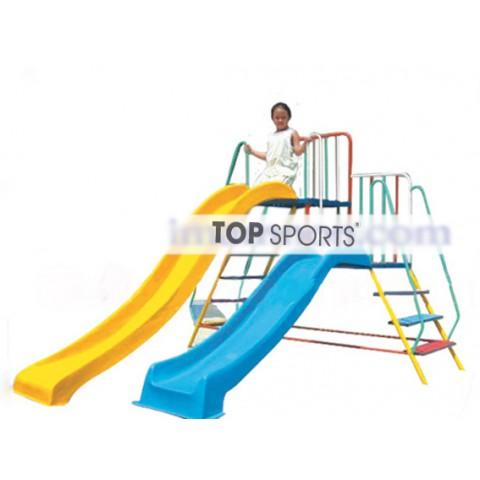 cầu trượt máng cao máng thấp cho bé vui chơi ngoài trời
