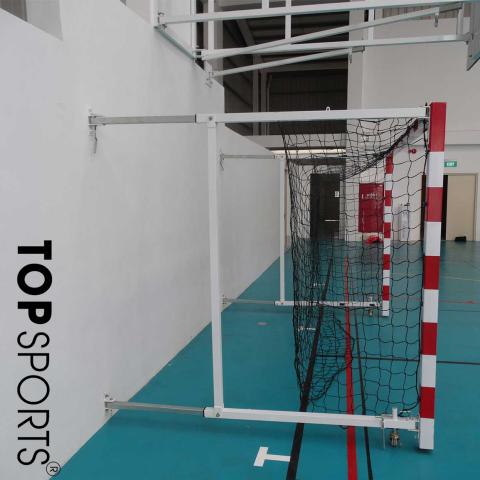khung thành bóng ném xếp gắng tường ống kẽm, chiều sâu điều chỉnh từ 1m đến 1,6m